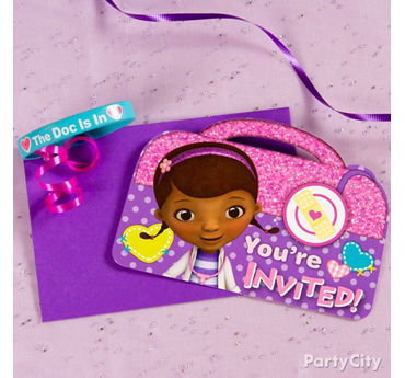 Doc McStuffins Invite with Favor Idea