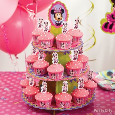 Minnie Mouse Cupcake Tower How To Party City