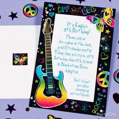 Neon Doodle Custom Invite Idea