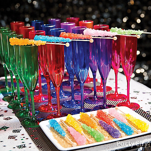 NYE Rock Candy Drinks Idea