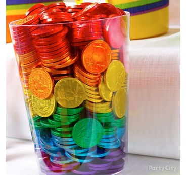 Rainbow Chocolate Coins Display Idea