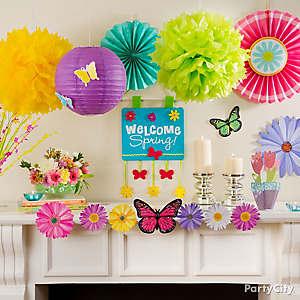 Welcome Spring Mantel Idea