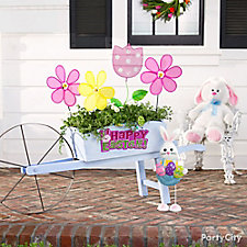 Happy Easter Flower Stakes Planter Idea