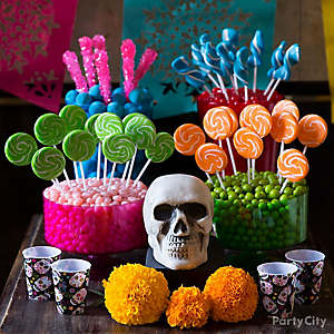 Day of the Dead Bright Candy Buffet Idea