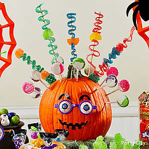 Friendly Jack-o'-Lantern Candy Display Idea
