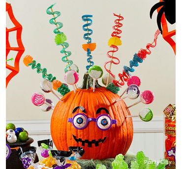 Friendly Jack o' Lantern Candy Display Idea