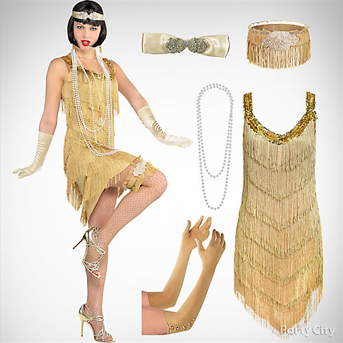 Women's Champagne Flapper Costume Idea