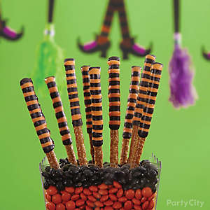 Witch's Crew Halloween Striped Pretzels How To