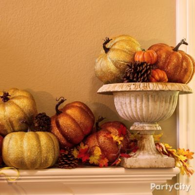 Glitter Pumpkins Mantel Idea