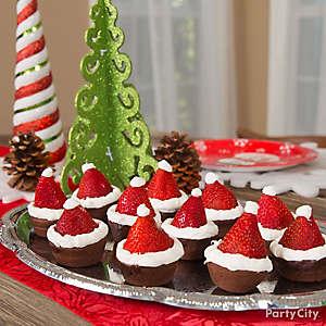 Strawberry Santa Hat Brownie Idea