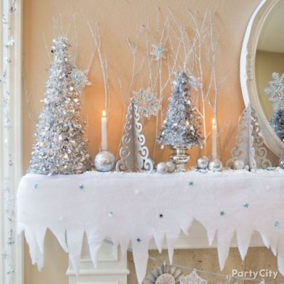 Trees and Icicles Mantel Decorating Idea