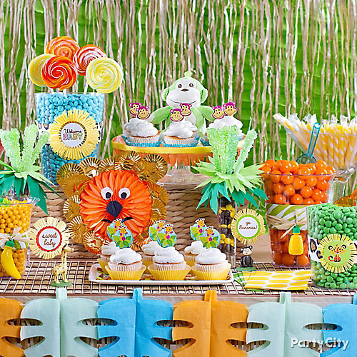 Jungle Theme Baby Shower Candy Buffet Idea