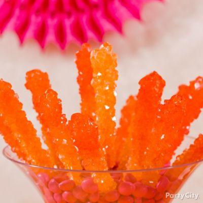 Orange Ombre Rock Candy Sticks Idea