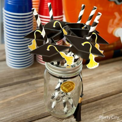 Grad Cap Striped Straws Display Jar Idea
