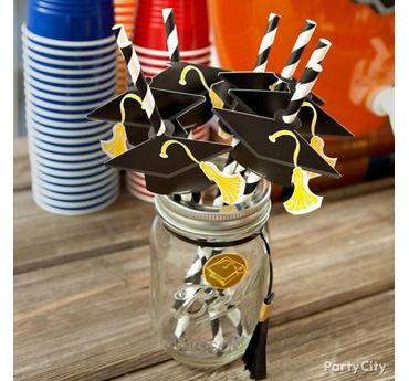 Grad Cap Striped Straws Display Jar Idea