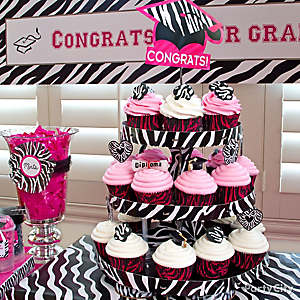 Grad Pink & Zebra Cupcake Tower Idea
