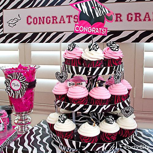 Grad Pink & Zebra Cupcake Tower Idea