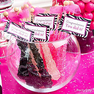 Pink and Zebra Rock Candy Tags Idea