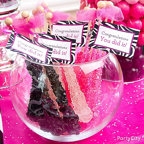 Pink & Zebra Rock Candy Tags Idea