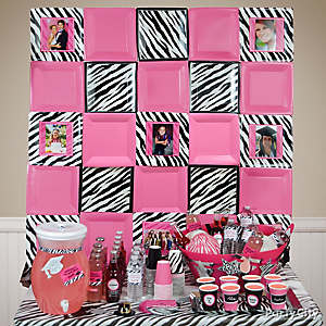 Pink & Zebra Plate Wall Photo Decoration Idea