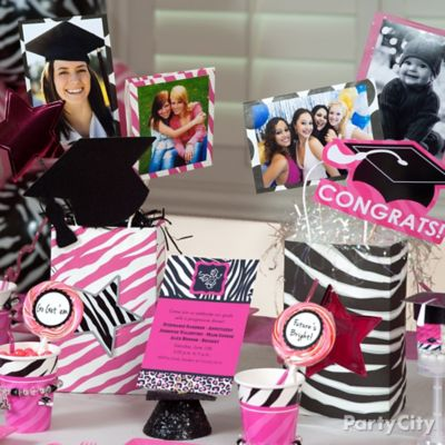 Pink and Zebra Grad Photo Centerpiece Idea