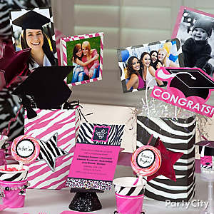 Pink & Zebra Grad Photo Centerpiece Idea