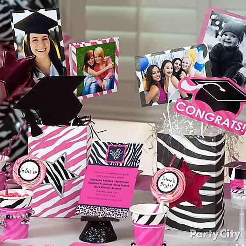Pink & Zebra Grad Photo Centerpiece Idea