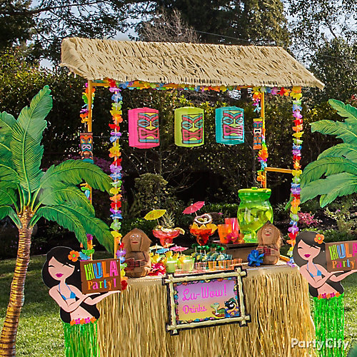 Raffia tiki bar idea luau raffia decorating ideas luau for Hawaiin decorations