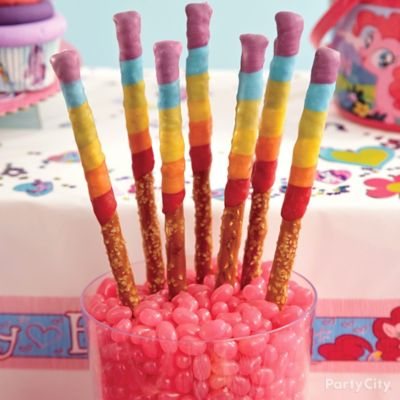Rainbow Dash Pretzel Pops How To