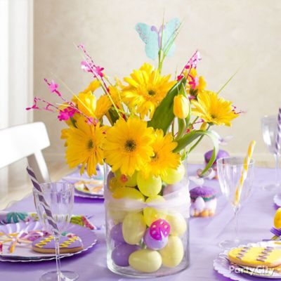Easter Egg and Flower Centerpiece Idea
