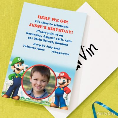 Super Mario Custom Invite & Thank You Idea
