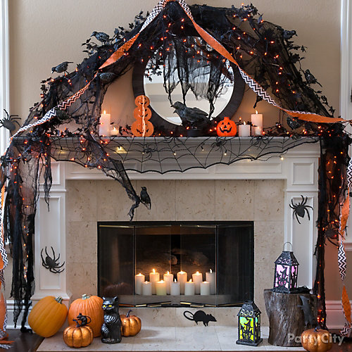 modern halloween mantel idea - Halloween Mantel Decor