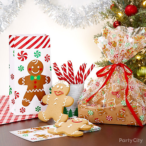 Holiday Cookie Party Gingerbread Treat Bags