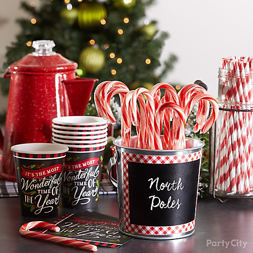 Holiday Party North Poles Candy Cane Idea