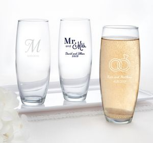 Personalized Stemless Champagne Flutes <br>(Printed Glass)</br>