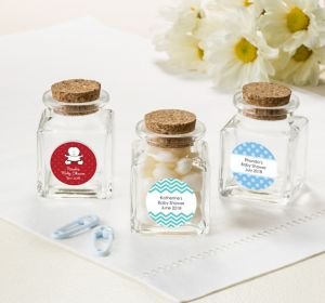 Baby Boy Personalized Baby Shower Small Glass Bottles with Corks (Printed Label)