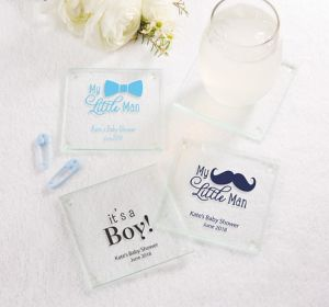 Baby Boy Personalized Baby Shower Glass Coasters (Printed Glass)
