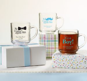 Baby Boy Personalized Baby Shower Glass Coffee Mugs (Printed Glass)