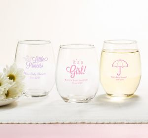Baby Girl Personalized Baby Shower Stemless Wine Glasses 15oz (Printed Glass)