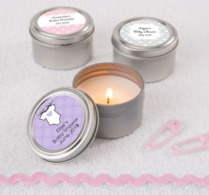 Baby Girl Personalized Baby Shower Candle Tins (Printed Label)