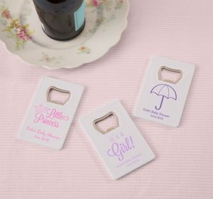 Baby Girl Personalized Baby Shower Credit Card Bottle Openers - White (Printed Plastic)