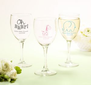 Gender Neutral Personalized Baby Shower Wine Glasses (Printed Glass)