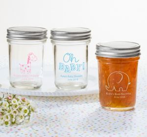 Gender Neutral Personalized Baby Shower Mason Jars (Printed Glass)