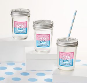 Girl or Boy Personalized Gender Reveal Mason Jars with Daisy Lids (Printed Label)