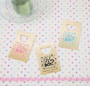 Girl or Boy Personalized Gender Reveal Credit Card Bottle Openers - Gold (Printed Metal)
