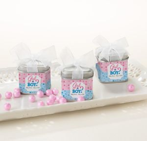 Girl or Boy Personalized Gender Reveal Favor Tins with Bows (Printed Label)