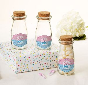 Girl or Boy Personalized Gender Reveal Glass Milk Bottles with Corks (Printed Label)