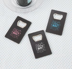 Girl or Boy Personalized Gender Reveal Credit Card Bottle Openers - Black (Printed Plastic)