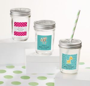 Fisher-Price Jungle Personalized Baby Shower Mini Glass Mason Jars (Printed Label)