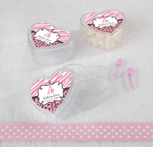 Pink Safari Personalized Baby Shower Heart-Shaped Plastic Favor Boxes (Printed Label)